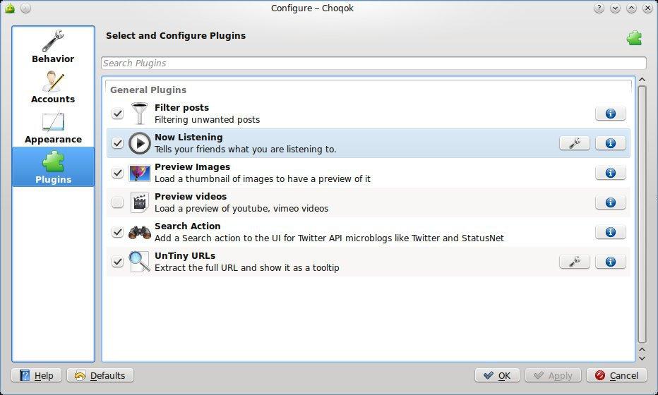Configuração dos plugins.