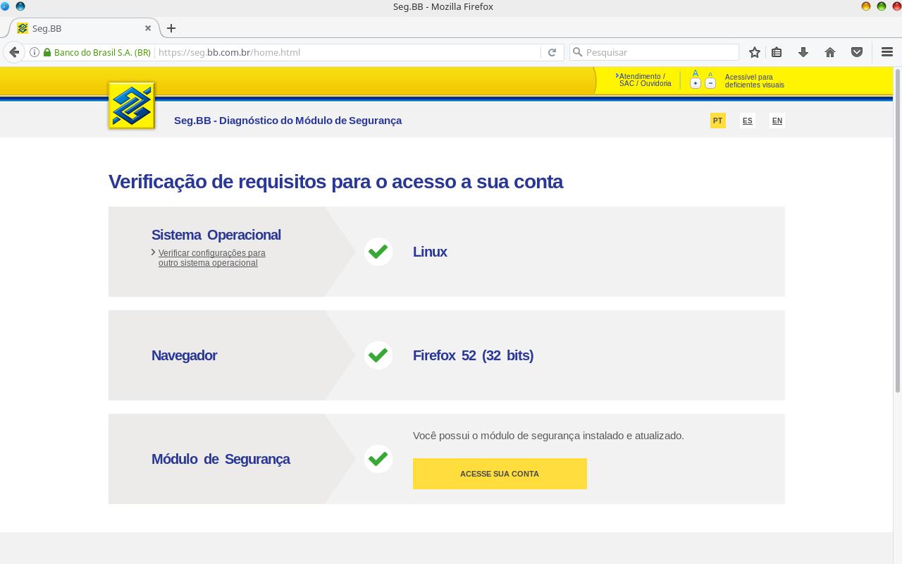 Confirmação no Banco do Brasil.