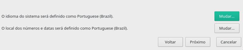 Clique em Mudar para alterar o idioma.