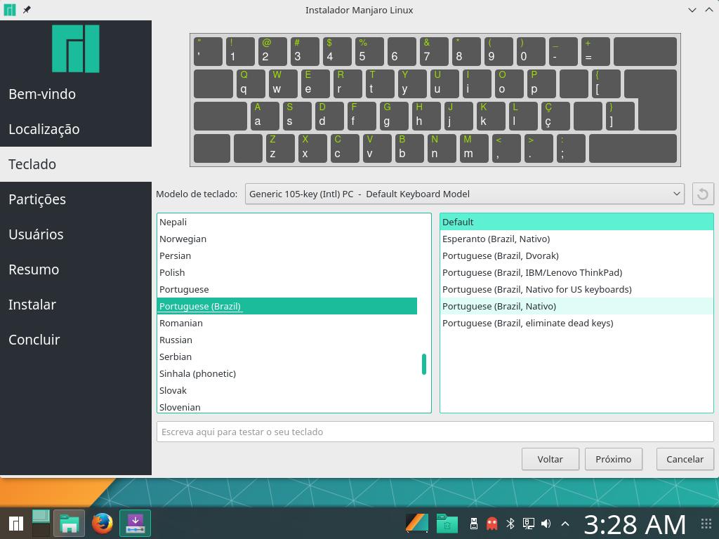 Altere o layout do teclado.