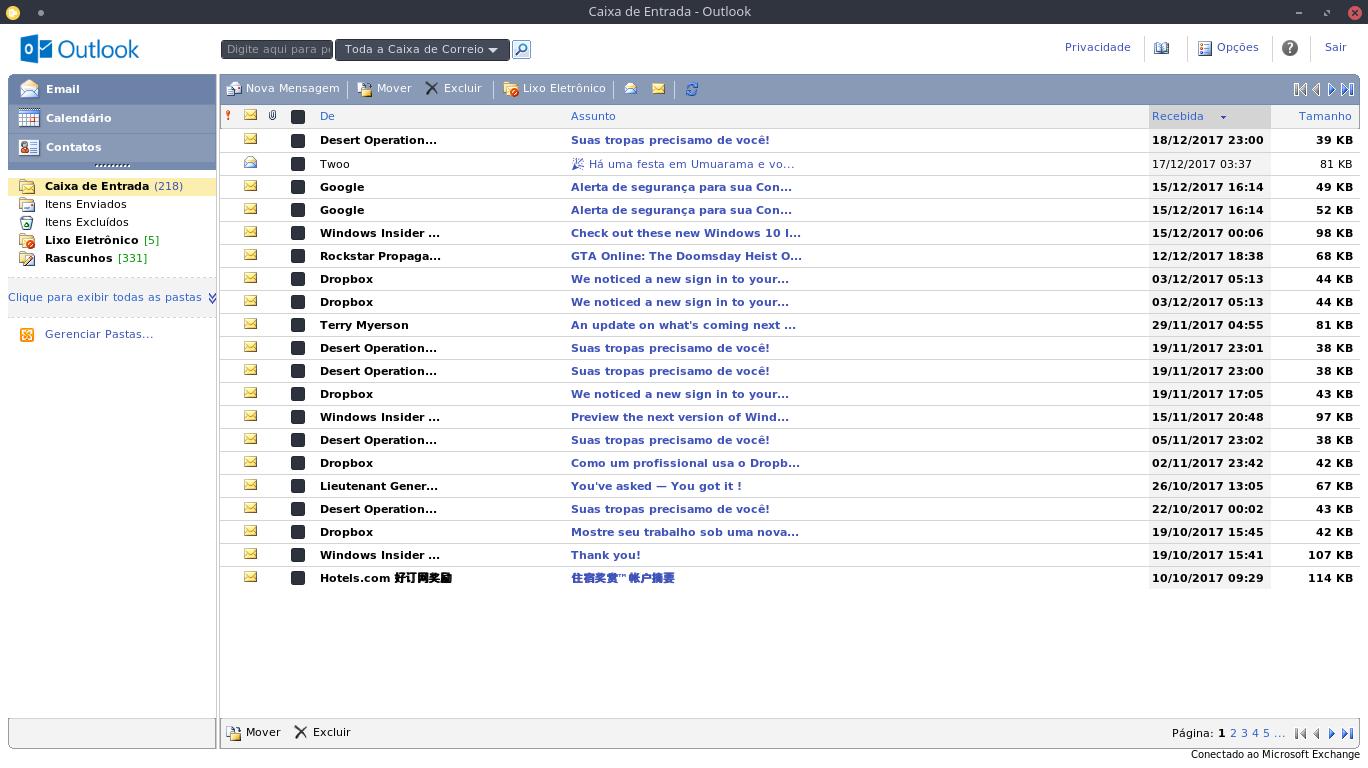 Tela inicial do Outlook.