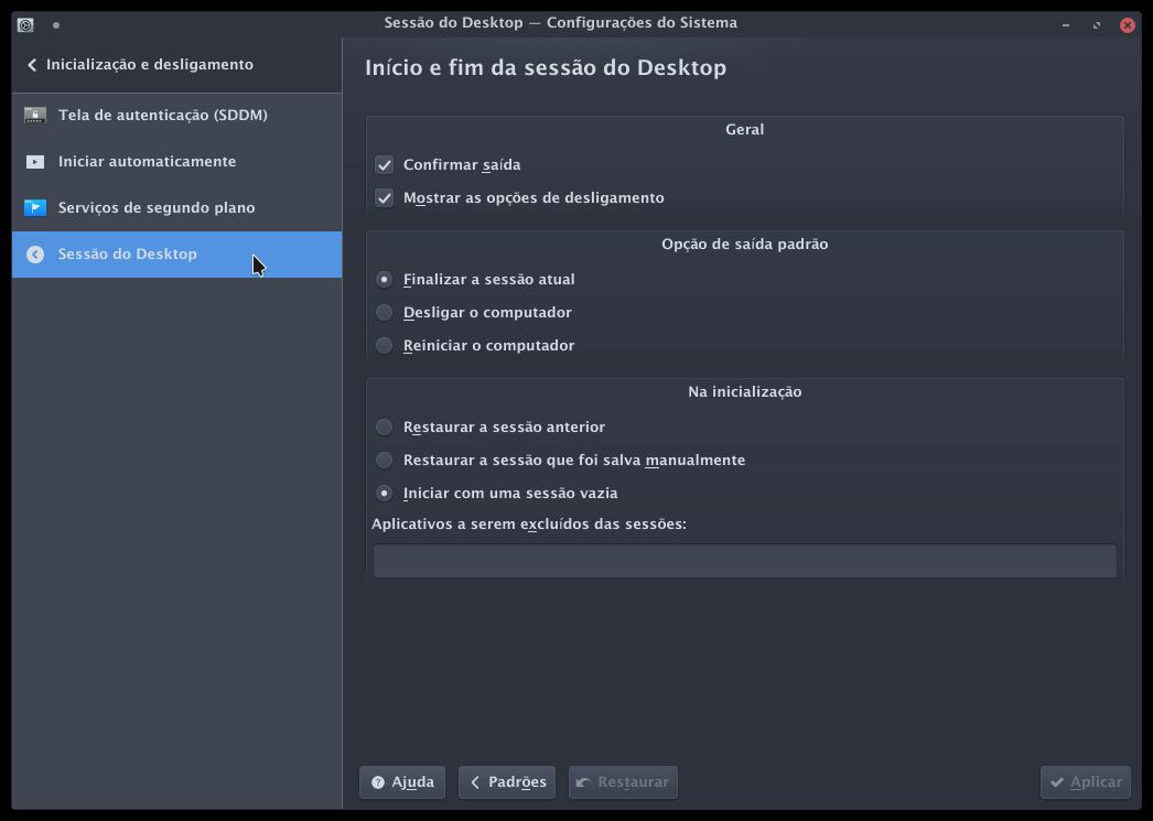 Sessão do Desktop.