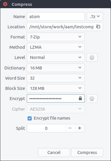 Opções para criar arquivos.