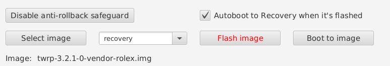 Clique em Selecte image e escolha a imagem do TWRP para o seu dispositivo.