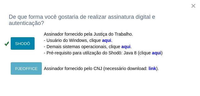 Shodô reconhecido, PJeOffice não instalado.