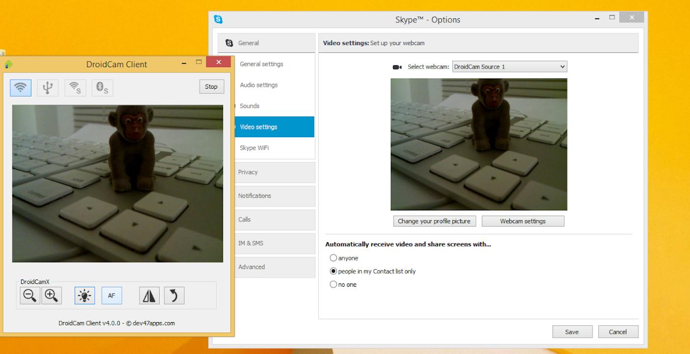 DroidCam no Skype.