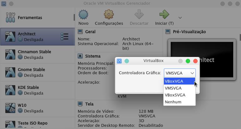 Opções de Controladora Gráfica no Virtualbox.