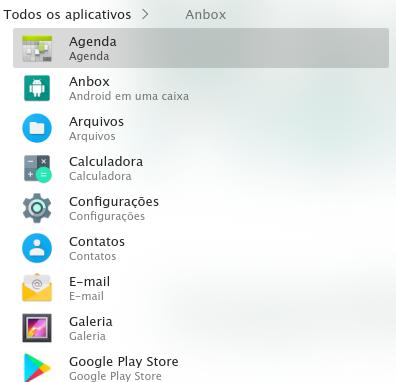 Aplicativos na categoria Anbox no KDE.