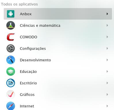 Categoria do Anbox no KDE.